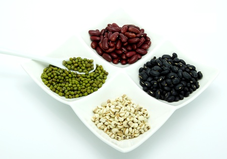 Organic Food - Red Kidney Bean; Black Bean; Job s Tears; and Green Bean  photo