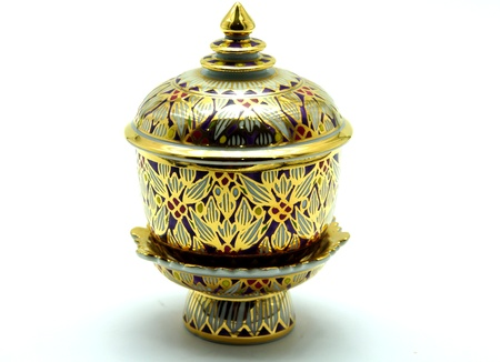Benjarong, Thai Porcelain with Designs in Five ColorsBenjarong, Thai Porcelain with Designs in Five Colors on White Background