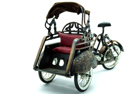 antique tricycle: Rickshaw, Retro Bicycle with Carriage on White Background