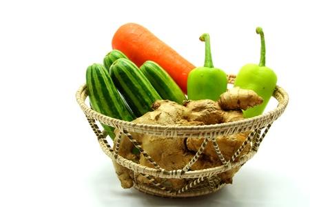 Assortment of Fresh Vegetables on White Background photo