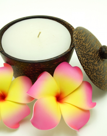 candleholder: Scented and Aroma Candle in Wooden Candleholder on White Background