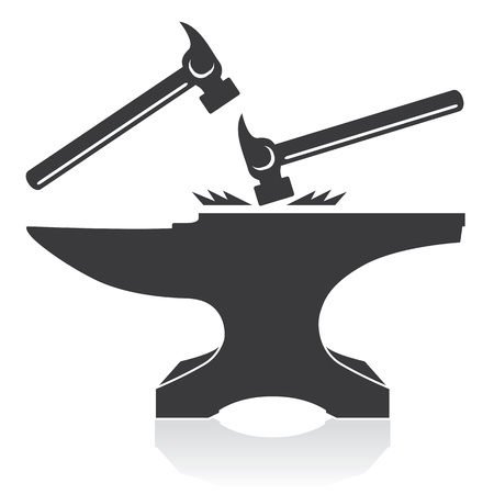Anvil   Hammer; Construction Materials and Hand Tools  Vector