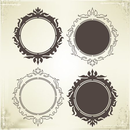 Vector Frame and Border on Vintage Background Vector