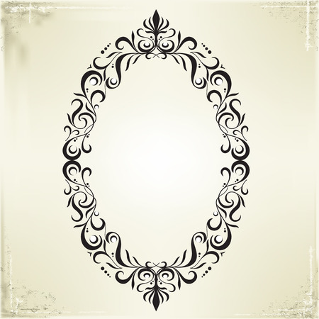 black picture frame: Vector Frame and Border on Vintage Background