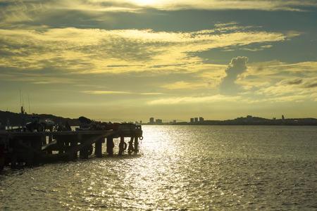 chao phraya river: Beautiful Sunset at Chao Phraya River Background; Thailand Stock Photo