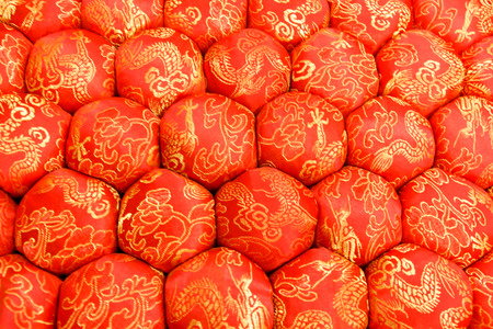Closeup Texture of Decorative Meditation Pillow Seat in Chinese Style