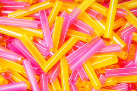 Closeup of Colorful Recycled Straw  Stock Photo