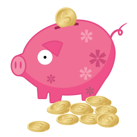 Piggy Bank with Gold Dollar Coins - Illustration Vector