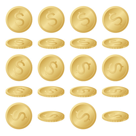 dollar coins: Set Collection of Gold Dollar Coins Illustrazione