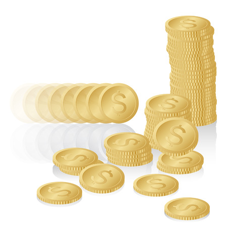 Stack of Shiny Gold Dollar Coins
