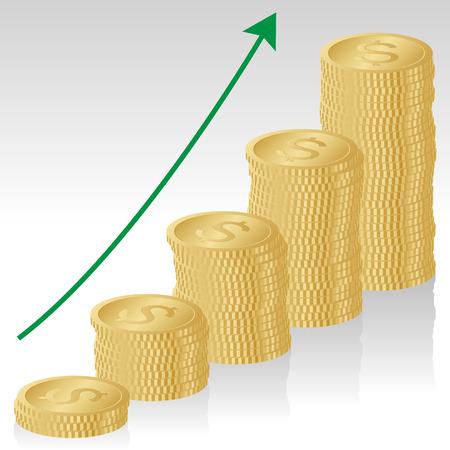 Business Concept, Increasing Dollar Money – Illustration Illustration
