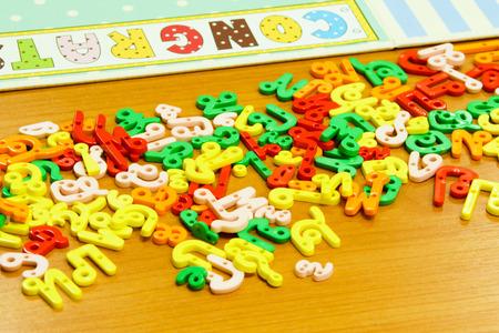 Random Colorful Plastic Thai Alphabet Letters  Stock Photo