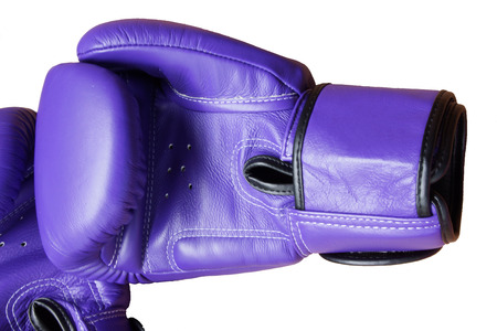 Pair of Purple Leather Boxing Glove Isolated on White Background Stock Photo
