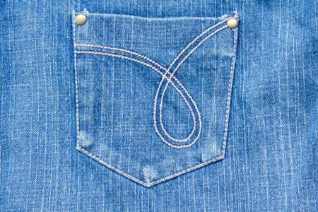 Blue Denim Jeans Texture with Pocket Stock Photo