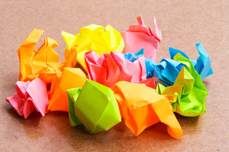 paperboard: Paper ball - Crumpled of Sticky  Note on Craft Paperboard Stock Photo