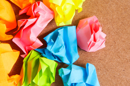 Paper ball - Crumpled of Sticky  Note on Craft Paperboard Stock Photo