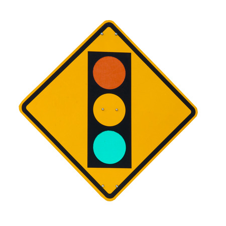 Traffic Light on Yellow Sign Board Isolated on White Background  Stock Photo