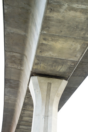 tollway: Low Angle View of Concrete Bridge Pillar and Prop in Thailand Stock Photo
