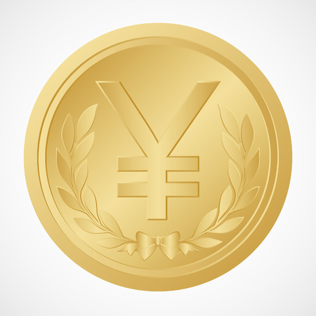 Gold Coin with Yuan Symbol � Chinese Money � Vector and Illustration