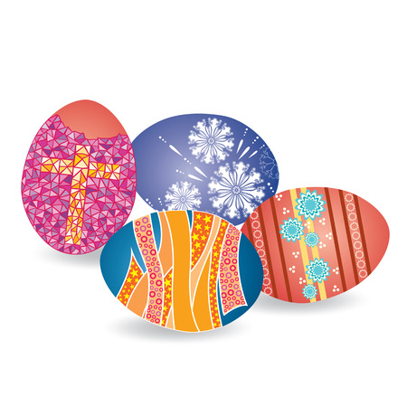 Set of Decorated Easter Eggs Isolated on White Background