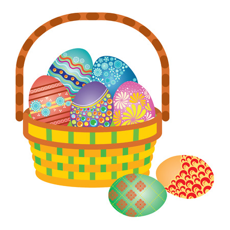 Full Basket of Decorated Easter Eggs Illustration