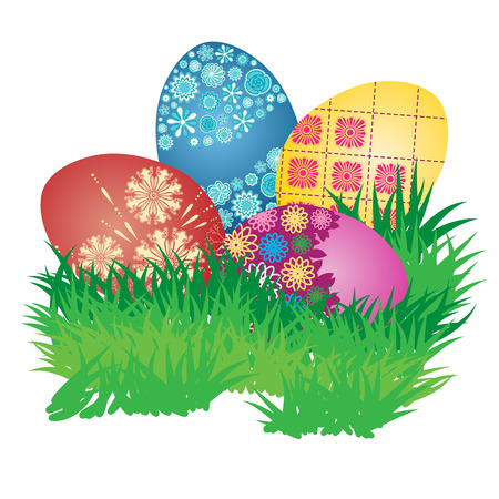 Decorated Easter Eggs on Fresh Green Grass Illustration