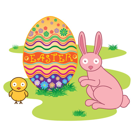 Easter Bunny with Decorated Easter Eggs on Fresh Green Grass Illustration