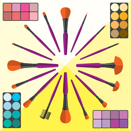 Set of Makeup Brushes and Cosmetic Illustration