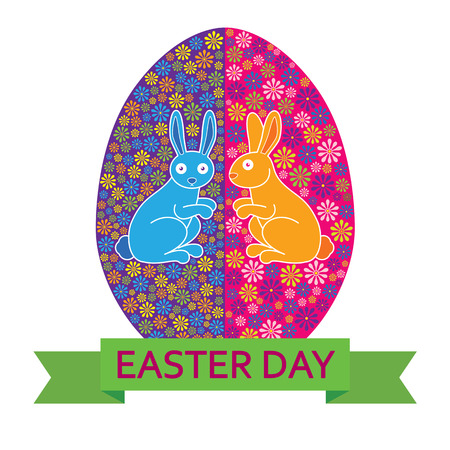 Easter Bunny with Decorated Easter Eggs Illustration