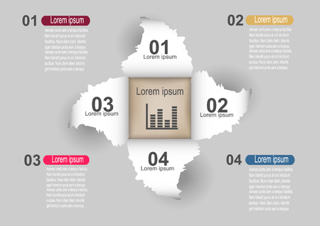curled up: Infographic Templates of lacerated sheets with numbers  Vector illustration.