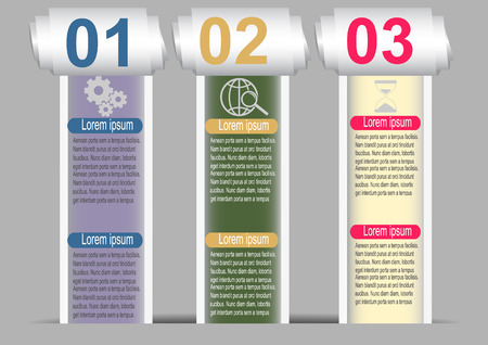 rolled up: Infographic Templates of lacerated sheets with numbers  Vector illustration.