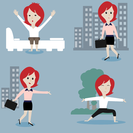 daily routine: Businesswoman daily routine,vector illustration