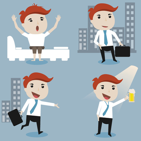 wake up happy: Businessman daily routine,vector illustration