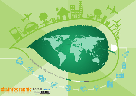 environment: Abstract ecology connection concept background with icons for eco friendly, energy, environment.Vector infographic illustration
