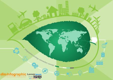 medio ambiente: Resumen ecolog�a concepto conexi�n de fondo con iconos de eco amigable, energ�a, environment.Vector ilustraci�n infograf�a