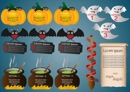 toxic substance: Collection of infographic set elements for  Halloween icon set. Illustration