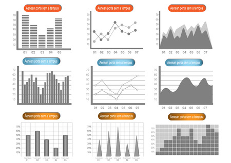 charts and graphs: Infographics elements set of different graphs and charts flat icons set isolated vector illustration. Illustration