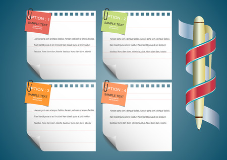 note paper background: Sheet of note paper on white  background. with curled corner. Vector illustration template.