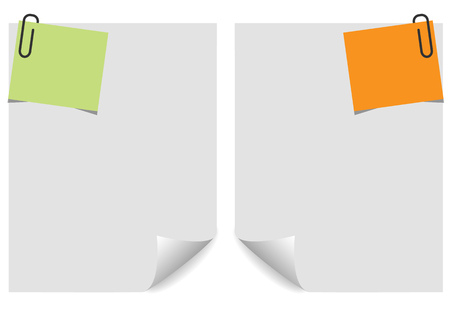 curled corner: Sheet of paper and note paper on white  background. with curled corner. Vector illustration. Illustration