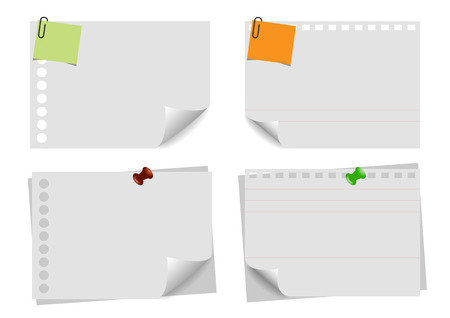 curled corner: Sheet of note paper on white  background. with curled corner. Vector illustration template.