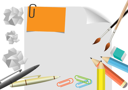 stylo: Vector  Stationary office colour pencils ,pen, paintbrush isolated on white paper background.