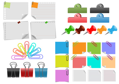 paper clip: Vector  of a paper sheet , note papers and  paperclip