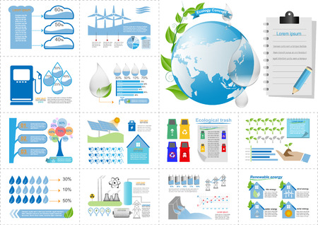 population growth: Ecology Infographic Elements Vector Illustration Illustration
