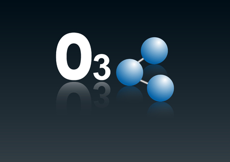 ozone: Molecular model  o3. ozone. 3d model. chemical  structure. illustration vector.