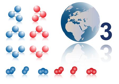molecular model: Set molecular model  o3 ozone. 3d model.