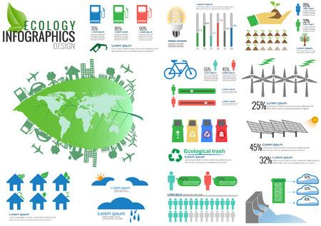 population growth: Ecology Infographic Elements Vector Illustration Illustration