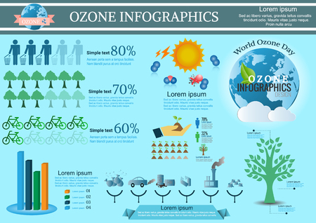 radiation pollution: Collection Ozone of infographic  elements .Vector  illustration Illustration