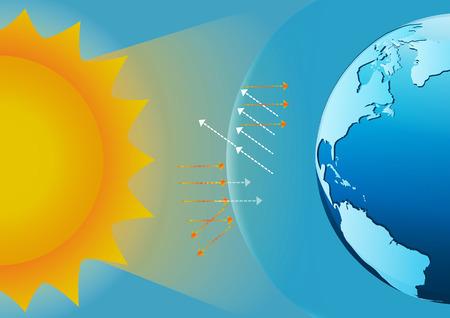 ozon: Infografik Design mit Umgebung in der Natur der globalen Erwärmung Illegal Verschmutzung zerstören grüne Umwelt und Erde mit gebrochenem Ozonschicht