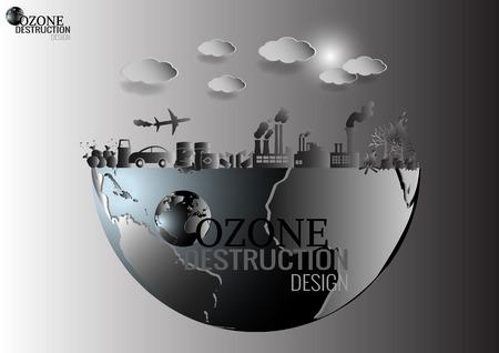 Design infografica con l'ambiente in natura il riscaldamento globale inquinamento illegale distruggere verde Ambiente e terra con strato d'ozono rotto Vettoriali