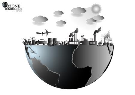 Design infografica con l'ambiente in natura il riscaldamento globale inquinamento illegale distruggere verde Ambiente e terra con strato d'ozono rotto